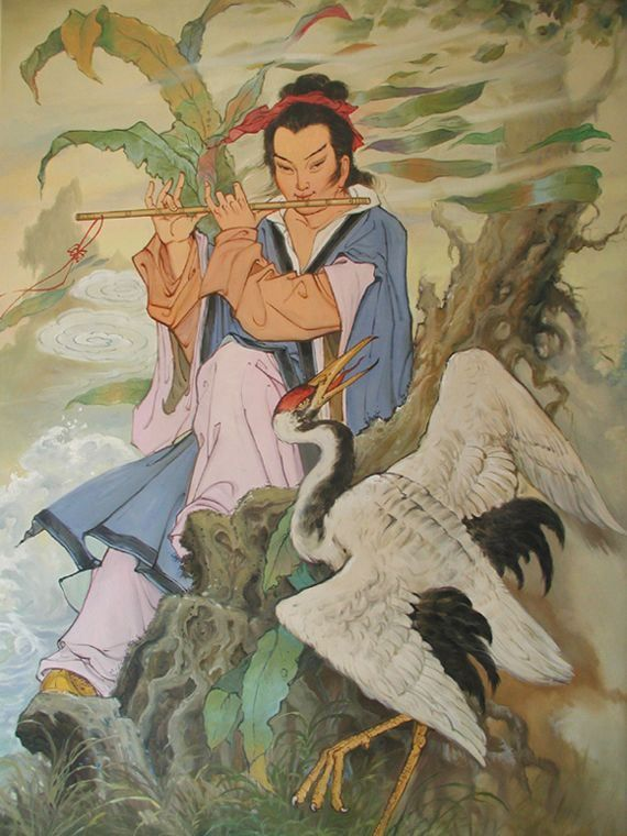 HAN XIANGZI studied Daoism under Lü Dongbin. Once at a banquet by Han Yu, Han Xiang tried to persuade Han Yu to give up a life of officialdom and to study magic with him. But Han Yu was adamant that Han Xiang should dedicate his life to Confucianism instead of Daoism, so Han Xiang demonstrated the power of the Dao by pouring out cup after cup of wine from the gourd without end.