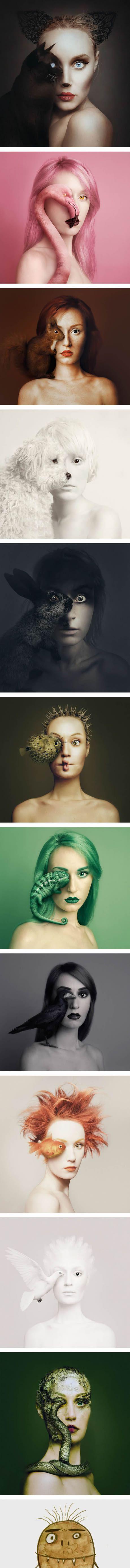 """Flora Borsi macht Selbstporträts mit den Augen der Tiere in ihrer Serie """"Animeyed"""""""
