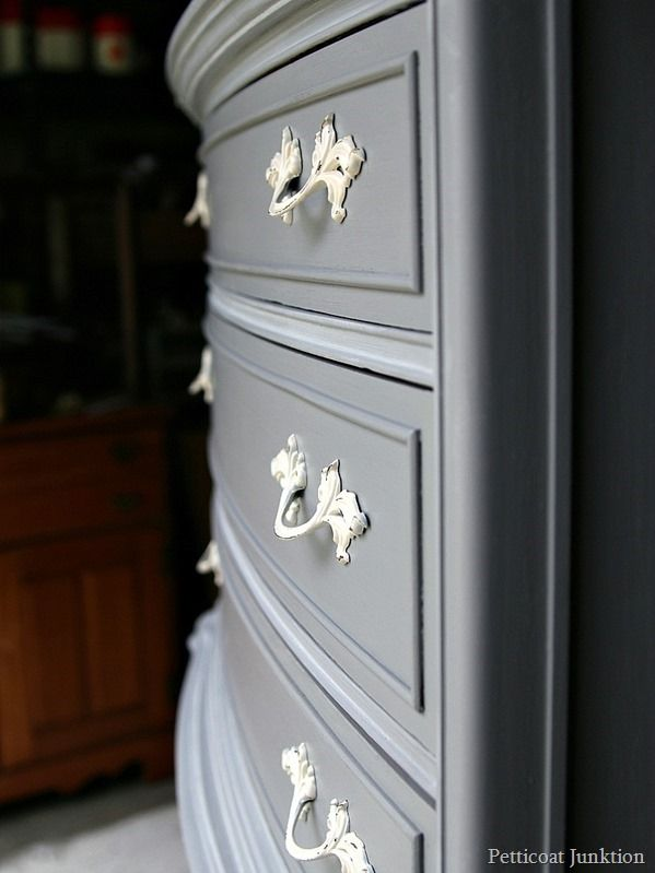 Spray painting vintage hardware is a great way to showcase painted furniture. Also a money saver!
