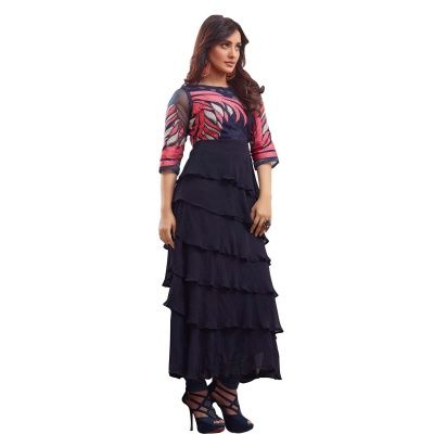 Beautiful Navy Blue Coloured Embroidered Salwar Suit