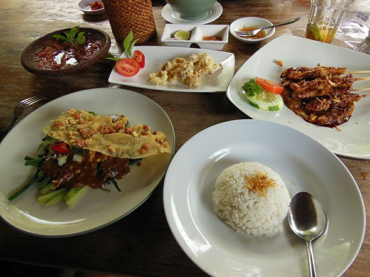 Warung Pulau Kelapa, one of our favourite places ever, Javanese specialties.  Pictured here is the pecel biltar, fried squid and chicken satay.