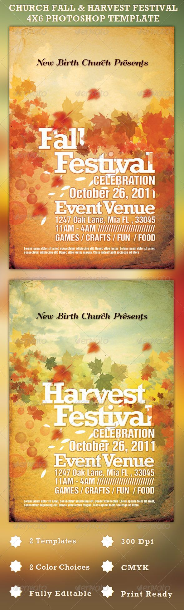 This Photoshop Template is great for any Church Fall or Harvest Festival, but can be used for just about any autumn season event. Layered Photoshop file is color coded and organized in folders. Font download links included. - Price: $6.00
