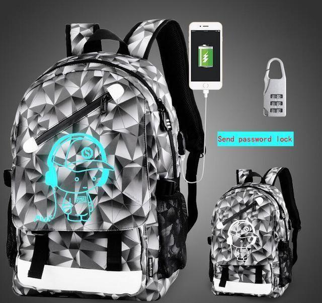 26a67258b9fa Senkey Style Men Backpack Cartoon Luminous Package Glow Usb Charge ...