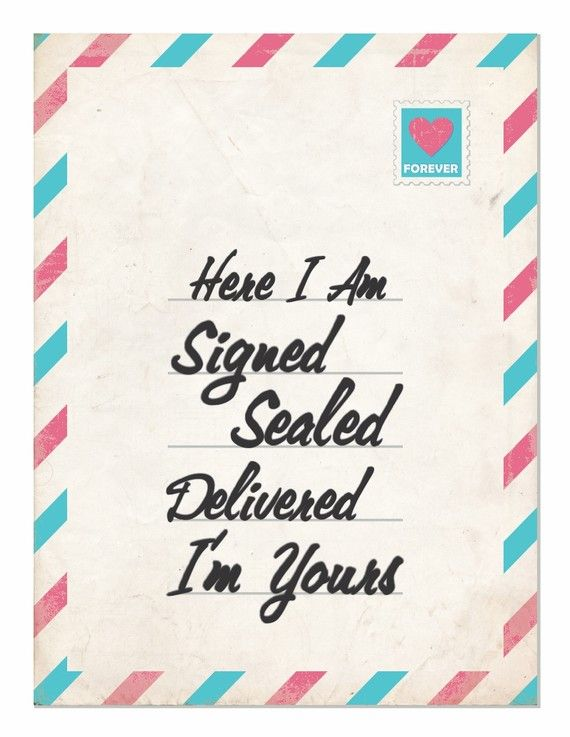 Typography Art  Signed Sealed Delivered  a by HouseofTenderBeasts, $20.00