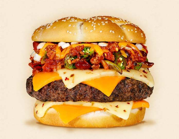 The Dallas:  Wisconsin Cheddar and Pepper Jack Cheeseburger Recipe.  Other ingredients:  beef patty, raw chopped onions, Texas red all-beef chili, and buttermilk bun. - Wisconsin Milk Marketing Board