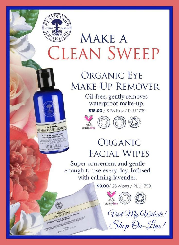 Clear off the day with NYR Organic Eye Make-up Remover and Organic Facial Wipes!