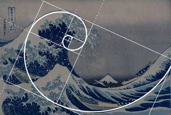 """Hokusai Meets Fibonacci Golden Ratio"" by Ars Brevis: 'The Great Wave' by Hokusai, the perfect example of Fibonacci spiral, golden ratio being a 'Fibonacci code' for art, science and math. Fascinating artists and scientists for centuries."