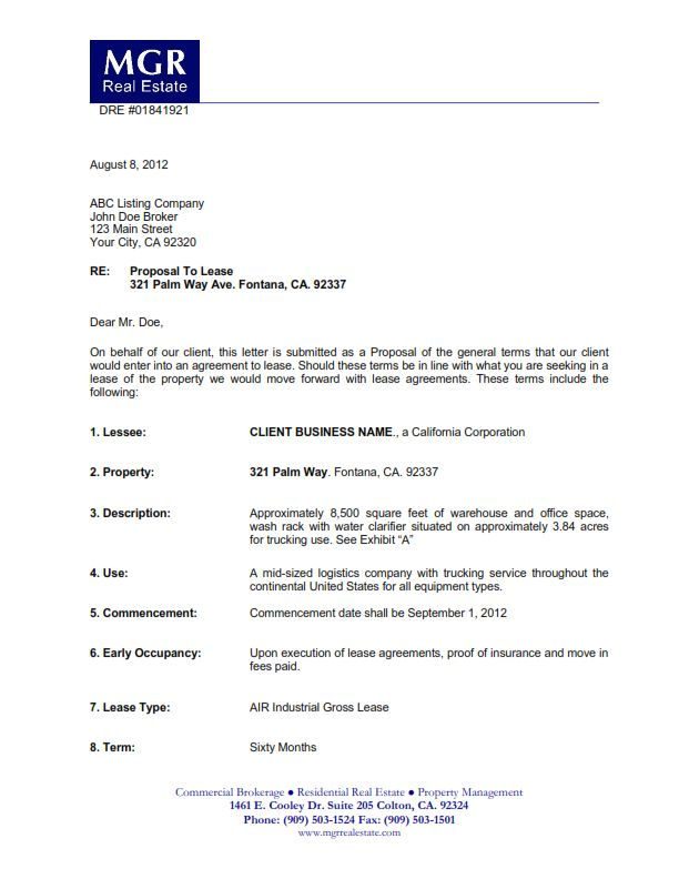 Commerical Lease Prposals Submittal Of A Letter Of Intent Proposal455 Letter Of Intent Lettering Proposal Letter