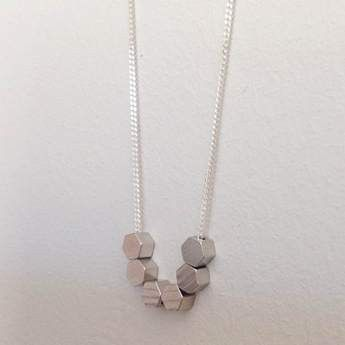 We Heart This - Silver Tone Hexagons Necklace