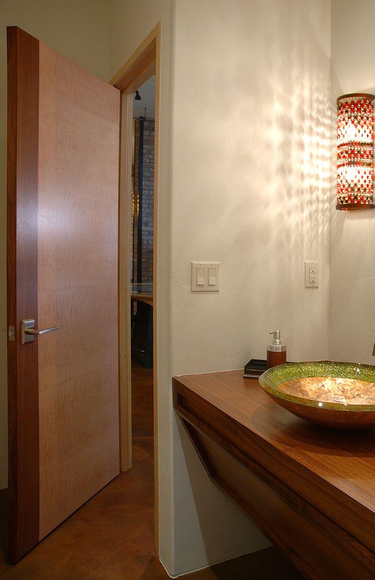 Trocal 76 entry door tiltturnwindows ca - Golden Contemporary Bathroom Door Square Top Rail Hard Maple And Walnut Mix Clear