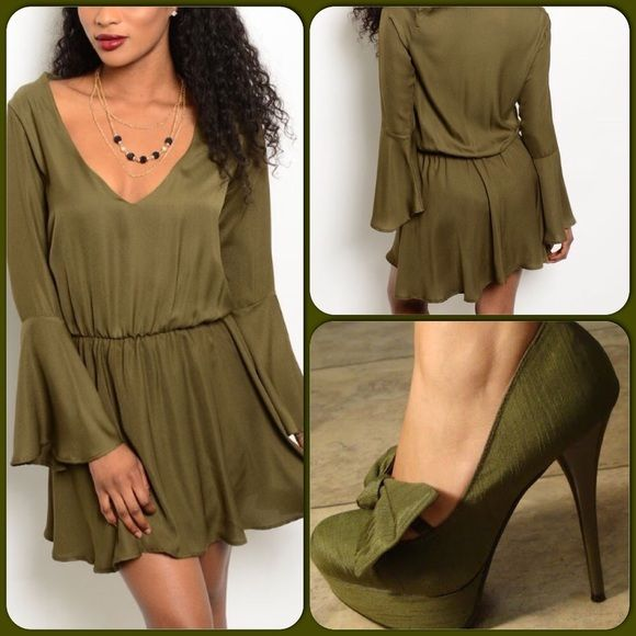 Olive Green Dress-Black Friday Deal This adorable dress features a V neckline, elastic waist and long bell sleeves. Fully lined. 100% Polyester. Perfect Holiday dress. (This closet does not trade or use PayPal) Blue Blush Dresses Mini