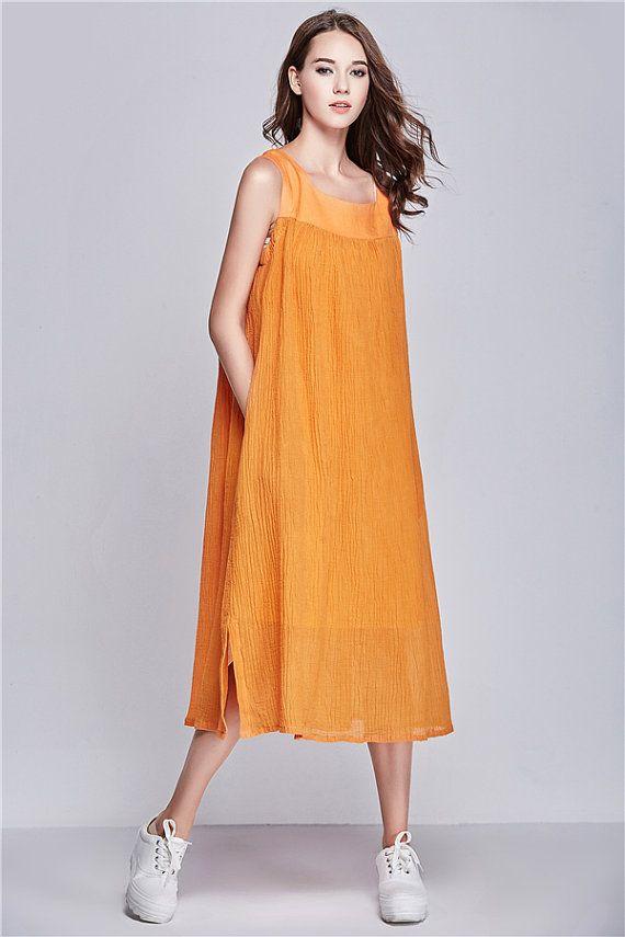 Long Linen Dress in Orange, Maxi Sundress, Contrast Color long Dress, Beach Dress, Maxi Caftan