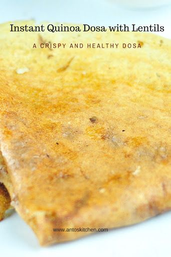 Instant quinoa dosa with lentils is a healthy and crispy dosa. These dosas are easy to make immediately after grinding the batter without fermenting. #quinoa #dosa #instant