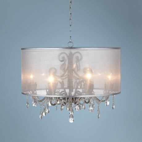 Possini Stinson 23 Wide Organza and Silver Pendant Light - LampsPlus - so elegant!