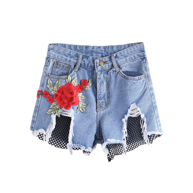 Aliexpress.com : Buy COLROVIE Fishnet Mesh Denim Shorts Women Blue Appliques Sexy Frayed Hem Summer Shorts 2017 New Floral Embroidery Ripped Shorts from Reliable ripped shorts suppliers on COLROVIE Official Store