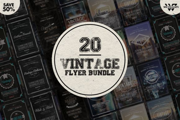 MEGA VINTAGE RETRO Flyer Bundle by WG-VISUALARTS on Creative Market