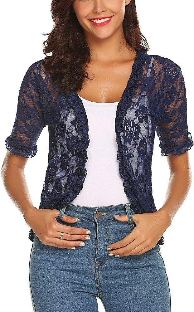 Women Floral Lace Shrug Half Sleeves Bolero Ladies Cardigan Tops Cover-Up Jacket