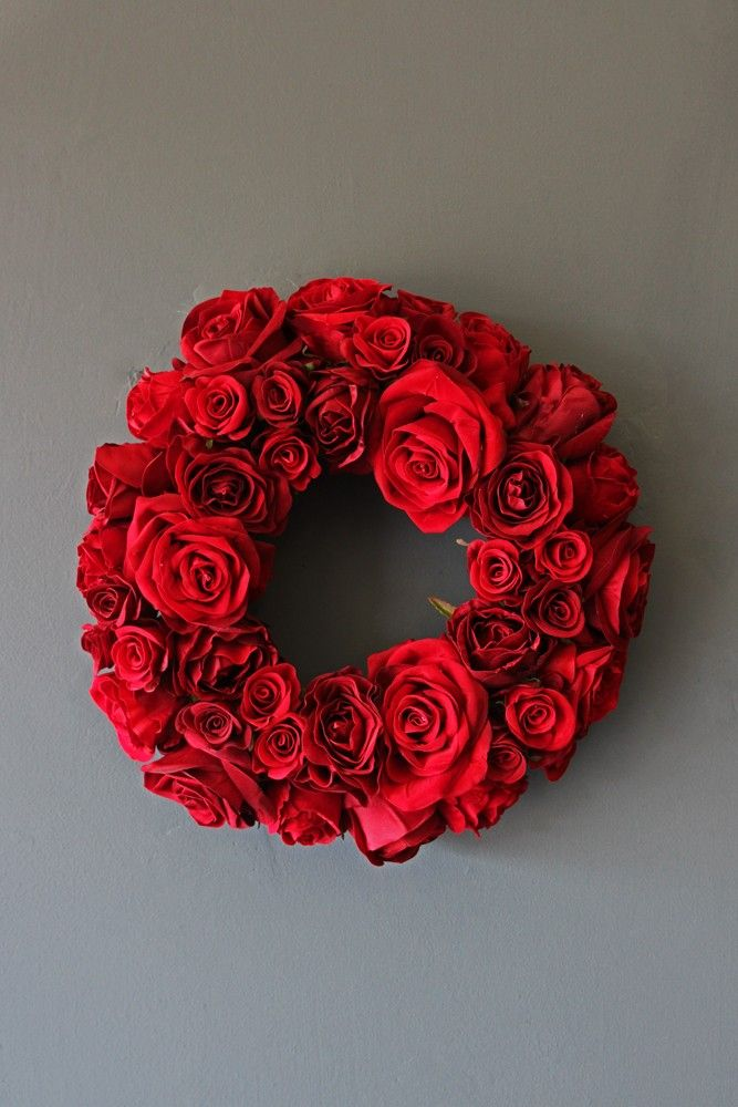 Red Rose Wreath - Christmas Decorations - Christmas