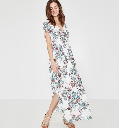 promod robe longue blanche fleurie