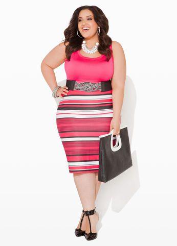 Ashley Stewart - Plus Size; Pencil skirt (striped)