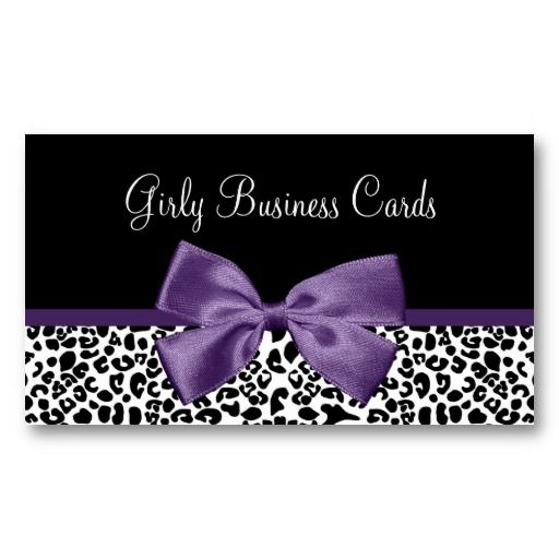 73 best girly business cards and cases images on pinterest girly leopard print trendy purple ribbon business card reheart Images
