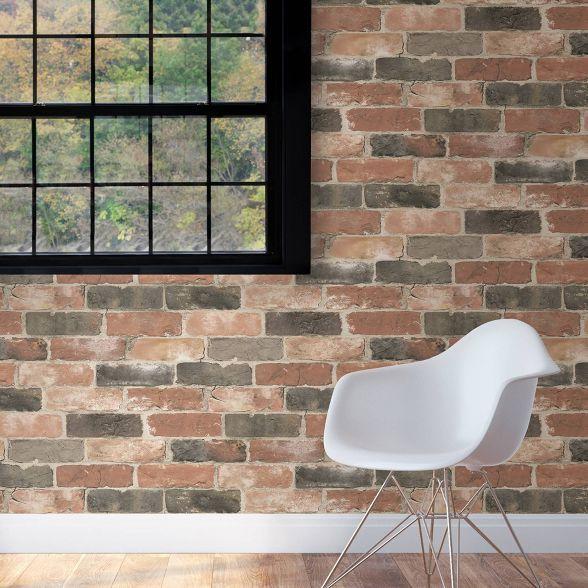 Nuwallpaper Newport Reclaimed Brick Peel Stick Wallpaper Craftsmen Brown Brick And Wood Peel And Stick Wallpaper Brick Wallpaper