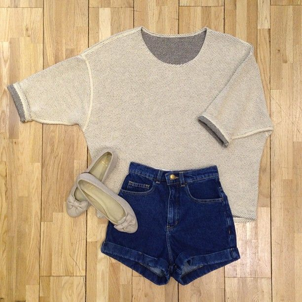 Reversible Easy Sweater, Dark Wash High-Waist Jean Cuff Short, Low Heel Slip On by #AmericanApparel. #AAoutfitideas #denim
