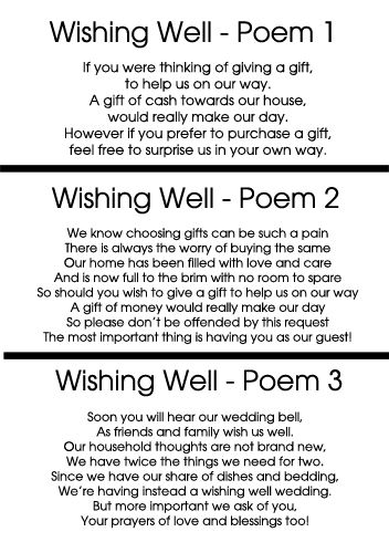 Well Poem, Wedding Gift Poem, Wedding Ideas, Wishing Well Wedding Poem ...