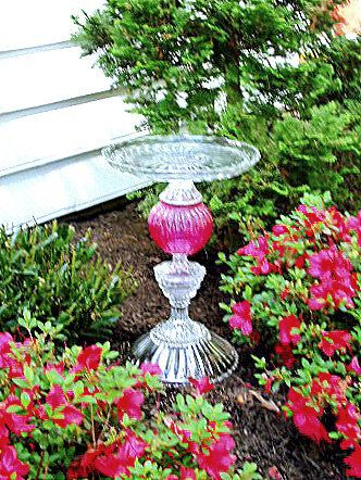 Beautiful garden art bird bath.  Assembled with re-purposed glass.  Upcycled.  Available at www.Etsy.com/ReCreationsInGlass