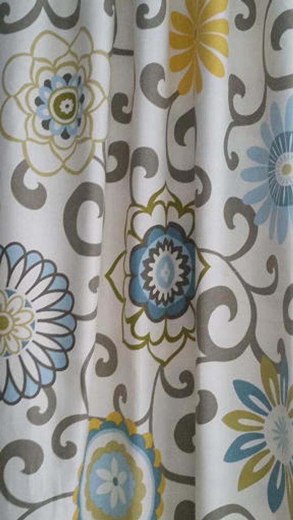Yellow And Blue Curtains Drapery Panels Valances Gray Etsy