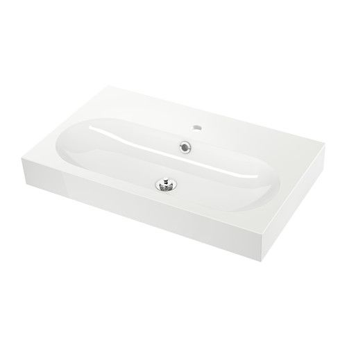 """IKEA - BRÅVIKEN, Sink, 1 bowl, 31 1/2x19 1/4x3 7/8 """", , 10-year Limited Warranty. Read about the terms in the Limited Warranty brochure.The included water trap is easy to connect to the drain, washing machine and dryer because it is flexible.Unique water trap design gives room for a full sized drawer."""