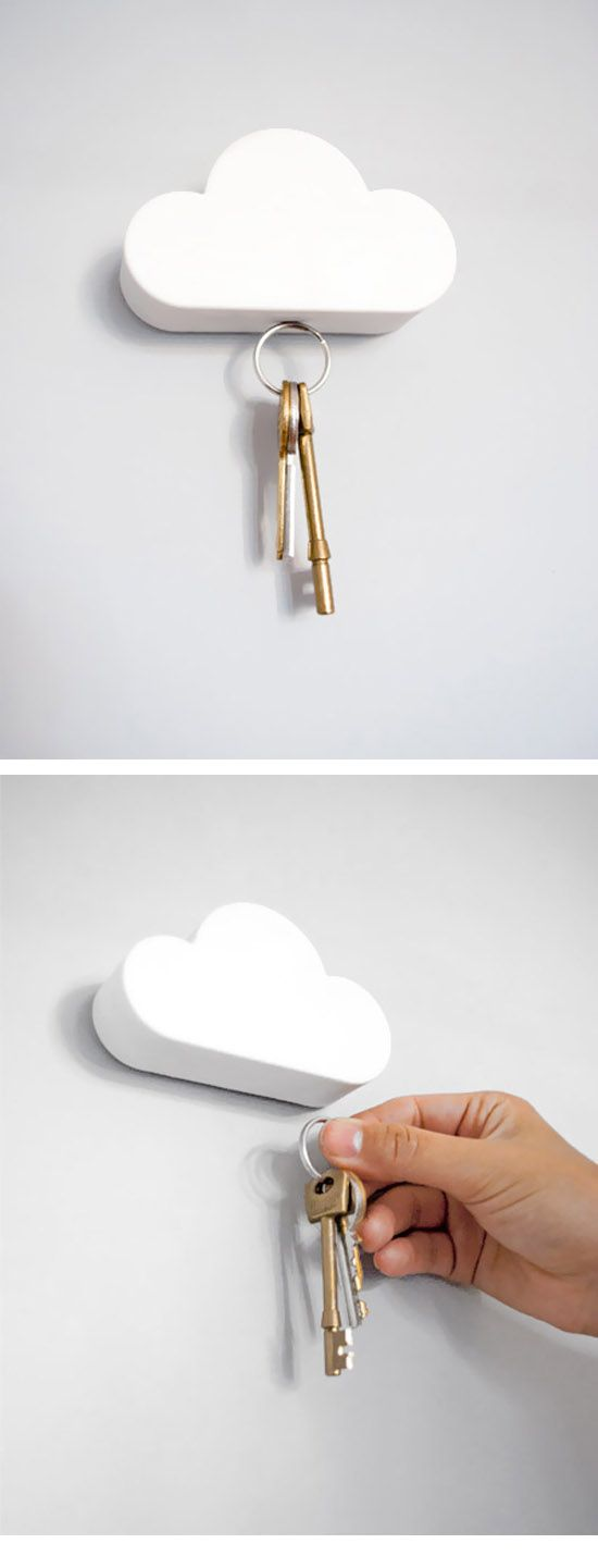 Cloudy :: This magnetic cloud key holder fixes to your wall and then suspends your keys from the bottom using 3 hidden magnets. ( http://www.suicidalshop.fr/catalog/product_info.php?cPath=82_id=2450 )