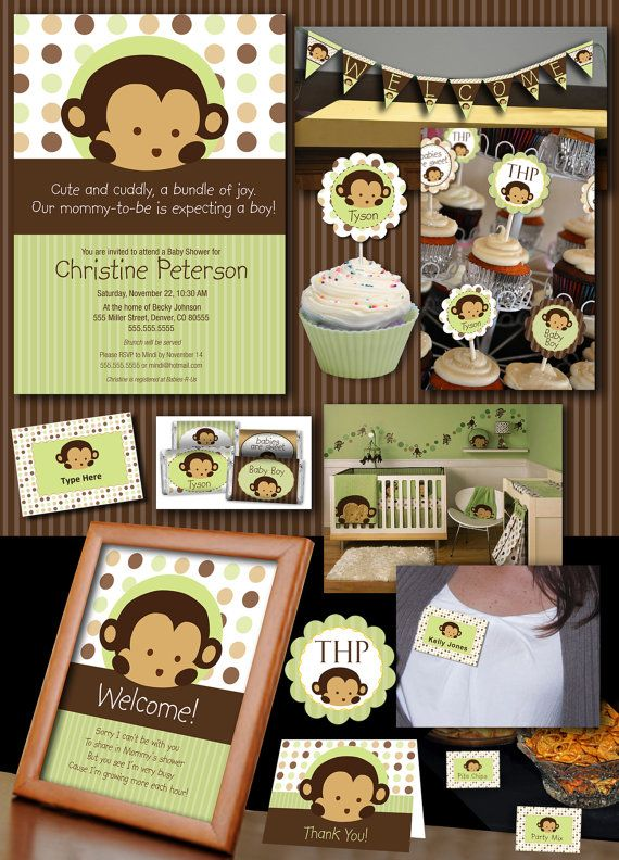 Mod Pod Pop Monkey Deluxe Baby Shower by SassyPartyDesigns on Etsy, $28.00