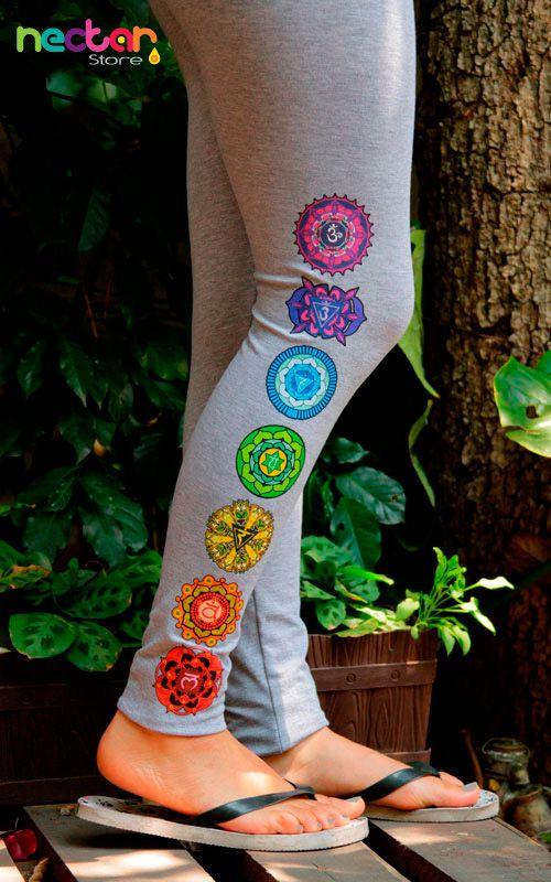 leggings de lycra- algodón con diseño de chakras. Ideales para hacer yoga