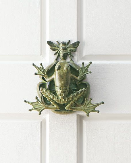 "Door knocker made of aluminum with verdigris patina. 10""W x 3.5""D x 10""T. Imported.                                                                                                                                                      More"