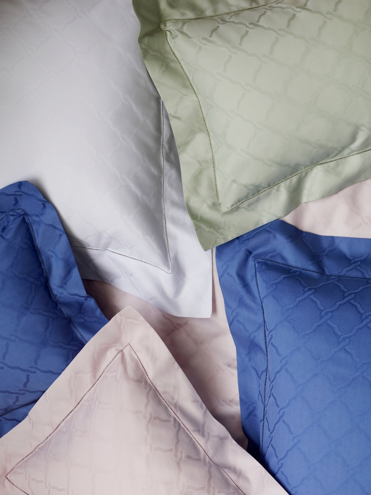 Bruni Egyptian cotton sateen jacquard by SFERRA in four colors. #luxury #linens
