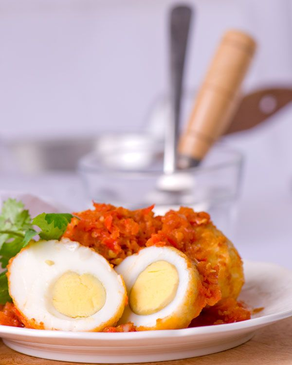 Indonesian sambal telur, chili eggs