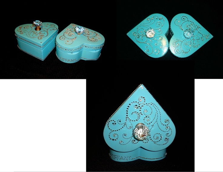 Custom made & personalized Tiffany colour heart-shape boxes.  Have yours made as well to hold that special unique gift.