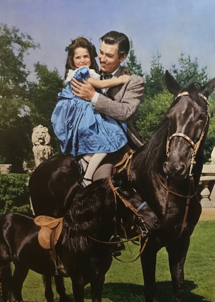 "Original oil painting by Charles Gehm 32x24 Gone with the Wind at Westport River Gallery. ""Bonnie Blue Butler""— Rhett shows their daughter Bonnie her new pony."