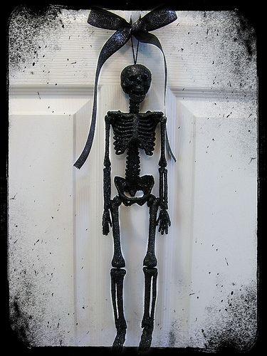 chrome hearts clothing online Glittery Black Skeleton Halloween Door Hanger  dollar store skeleton  spray paint  spray adhesive  glitter