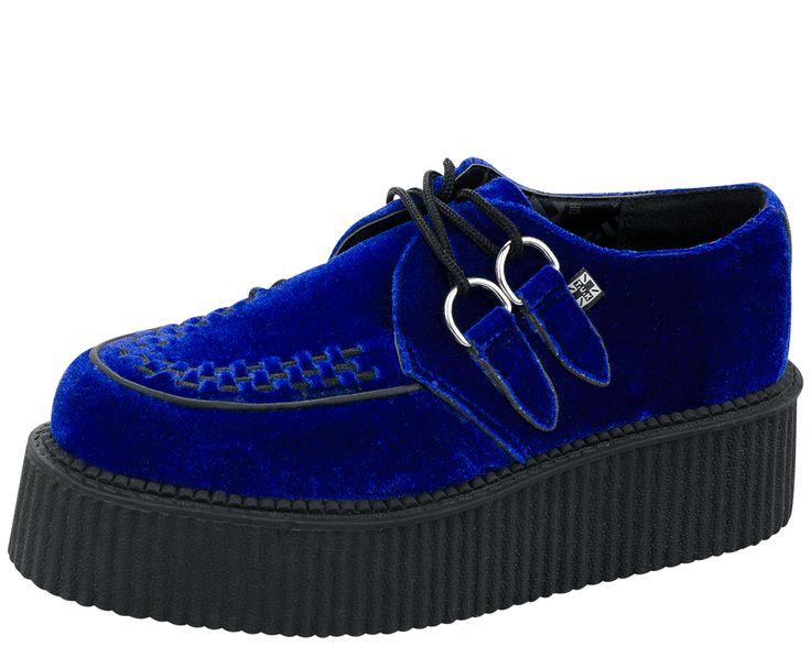 TUK Cobalt Blue Velvet Round Toe Mondo Creeper $62.00 #shoes #creepers www.drstrange.com