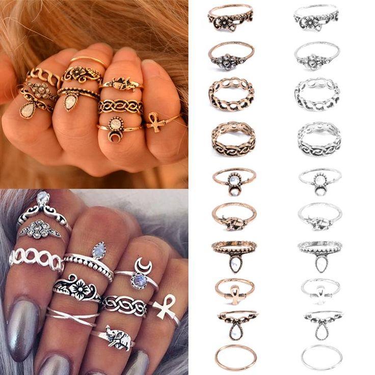 Boêmio 10 unidades/pacote de Elefante Do Vintage Lua Anéis Empilháveis Midi Anéis Conjunto de Anéis de Sorte para As Mulheres Partido Jóias Frete Grátis