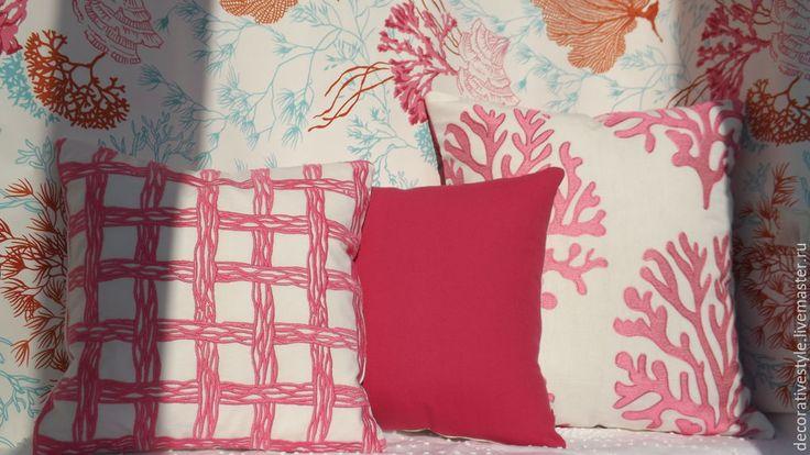 """Купить Подушки декоративные (Подушки декоративные """"Розовый коралл"""") - подушки декоративные, Подушки, подушки на диван"""