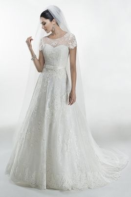 2014 Wedding Dress Scoop Short Sleeve A Line With Applique And Ribbon Tulle