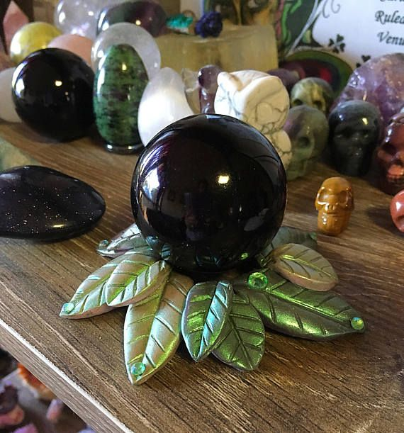 Obsidian crystal ball with Leafy stand