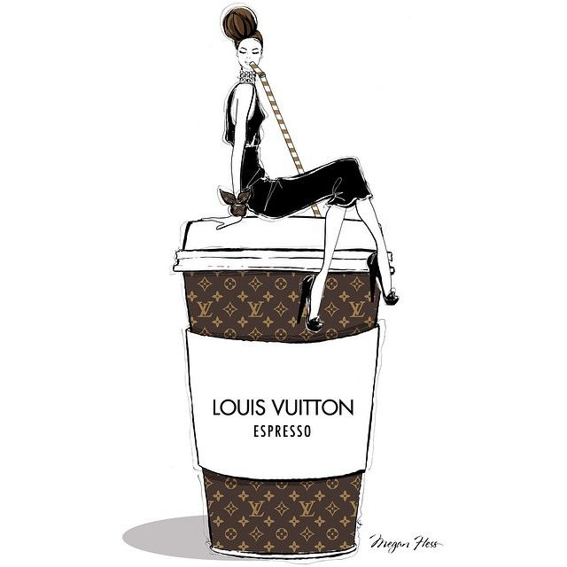 Finding it hard to get yourself going on this Monday morning?..... All you need is a giant LOUIS VUITTON Espresso!!! Megan Hess illustration.