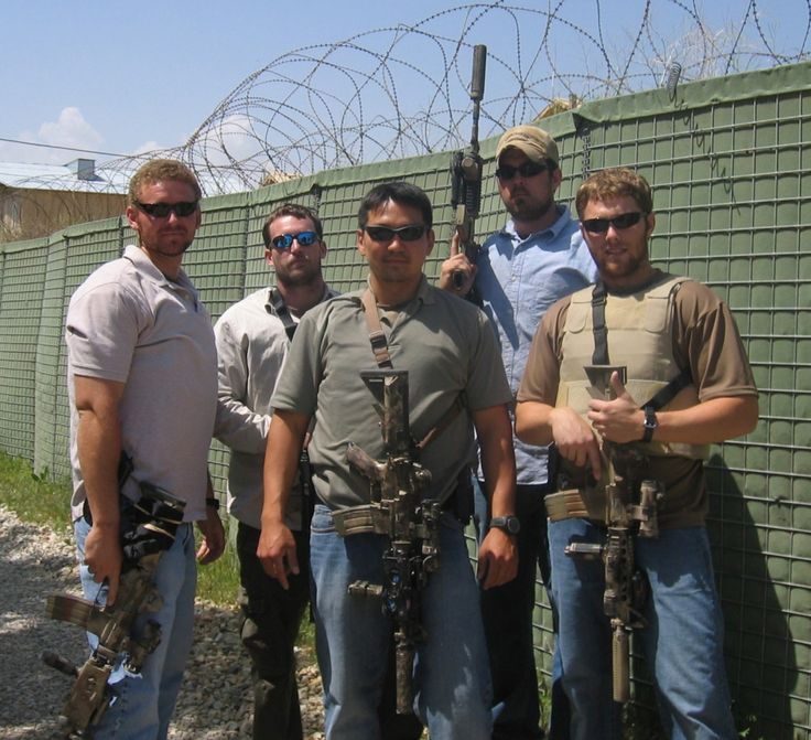 L to R: US Navy SEALs Matt Axelson, Mike Murphy, James Suh ...