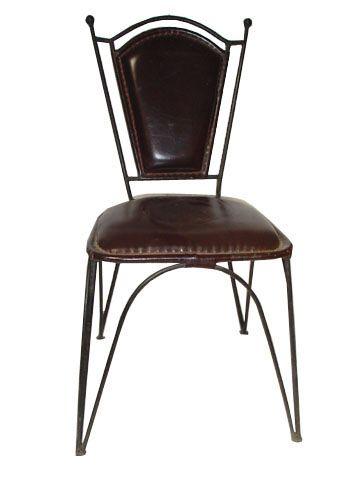 Dezaro-iron leather plain chair