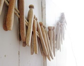 Vintage Wood Clothespins Laundry Linens 20 count Crafts Supply Hangers Primitive Rustic Farmhouse Shabby Decor
