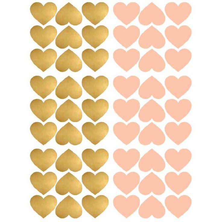 Pom le bonhomme 54 muurstickers hartjes goud roze